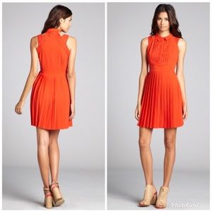 Greylin Red Cutout Shoulder Pleated Dress